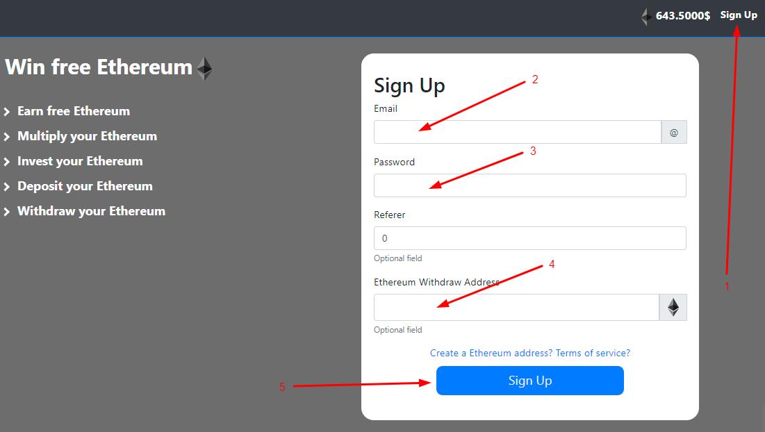Регистрация в Free ethereum