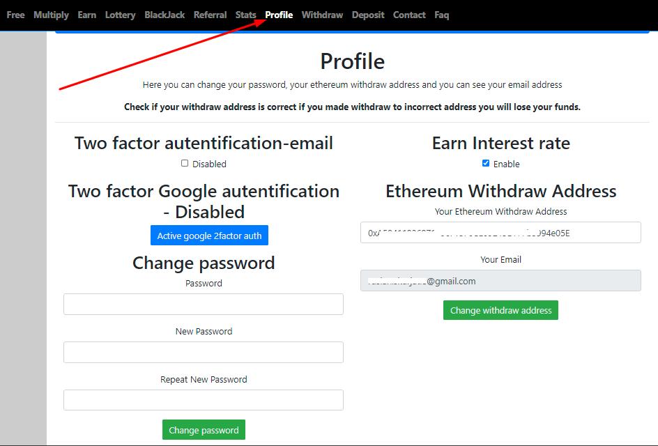 Настройка личного кабинета Free ethereum io