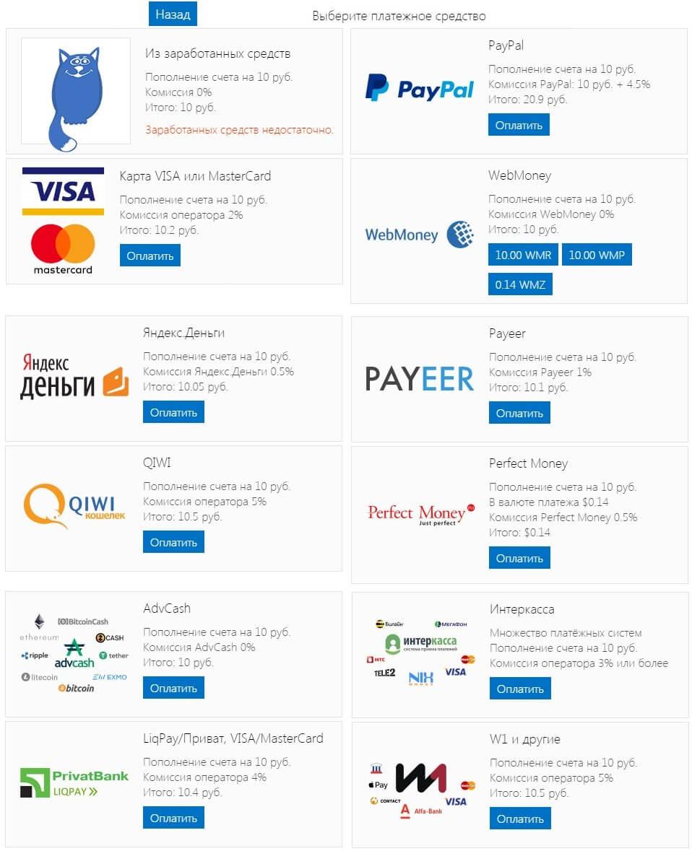 Платежные системы в CatCut для пополнения баланса