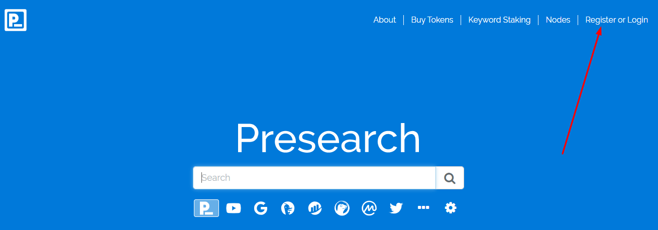 Presearch регистрация