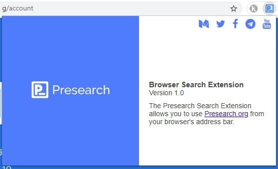 Установка расширения Presearch